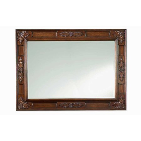 Rectangular Highly Carved Wood Frame Landscape Mirror with Beveled Glass