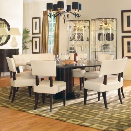 Seven Piece Round Single Pedestal Table and Upholstered Dining Side Chair Set