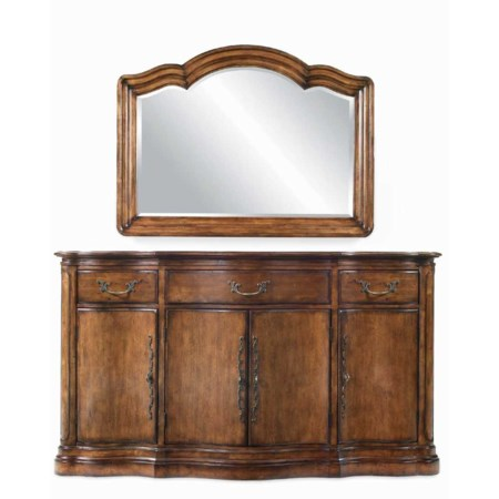 Three Drawer, Four Door Buffet & Landscape Mirror Combo