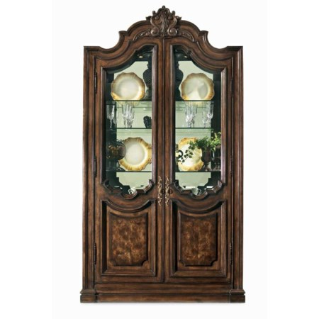 Curio Cabinet with Two Wood Framed Doors