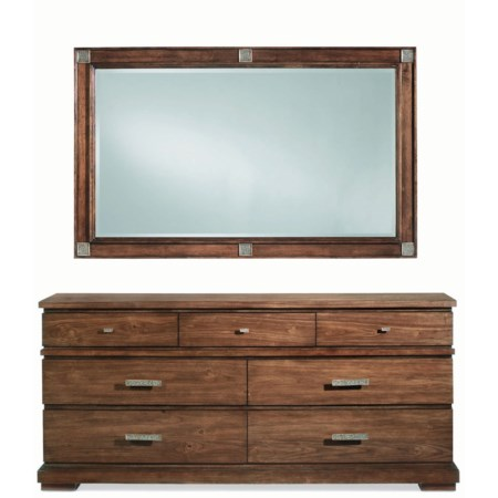 Rustic Seven Drawer Dresser and Landscape Mirror