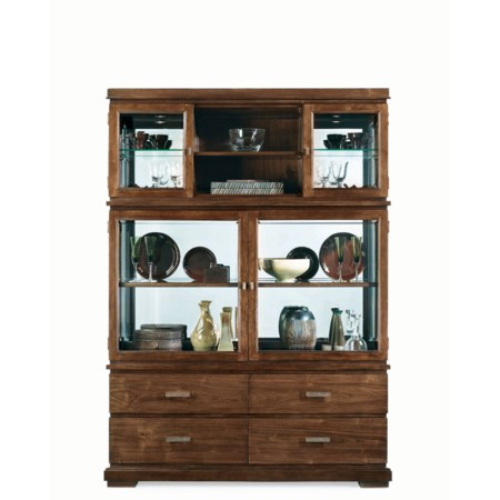 Rustic Four Drawer Four Door China Deck & Base