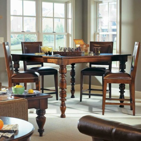 Five Piece Rectangular Four Leg Gathering Table and Leather Counter Stool Set