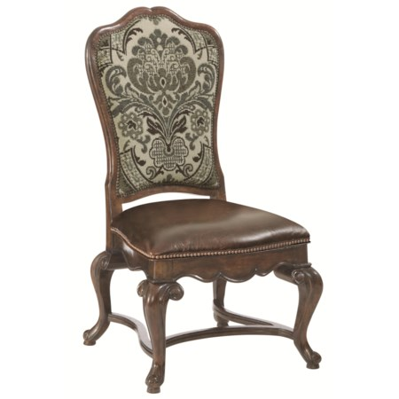 Customizable Upholstered Leather/Fabric Side Chair with Nailhead Trim
