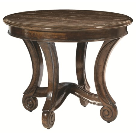 Center Table with Scrolled Pedestal Legs