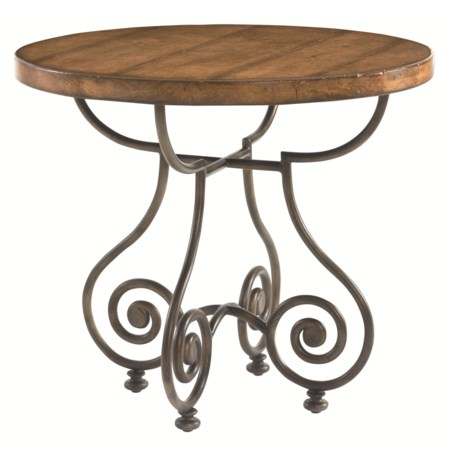 Round Metal Base Chairside Table with Plank Top