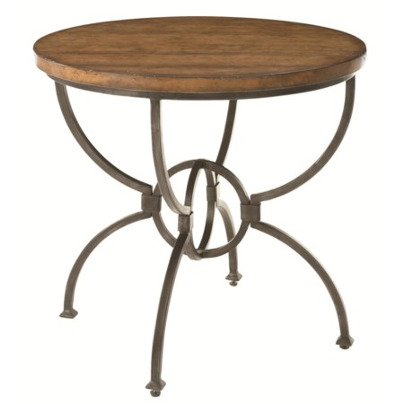 Round Metal Base Side Table with Wood Plank Top