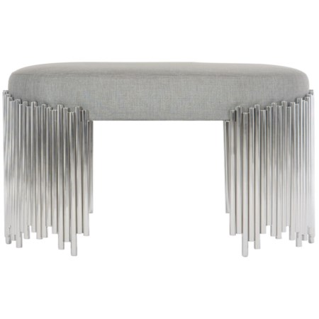 Transitional Oval Upholstered Bench with Metal Base