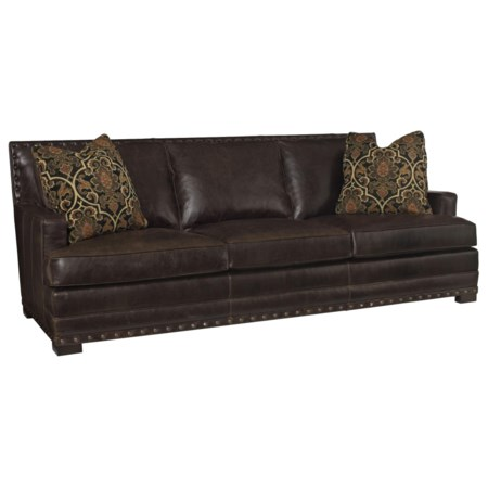 Leather Sofa with Nail Head Trim and Low-Set Arms