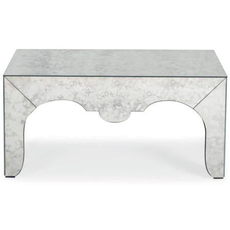 Mirrored Cocktail Table with Shaped Apron