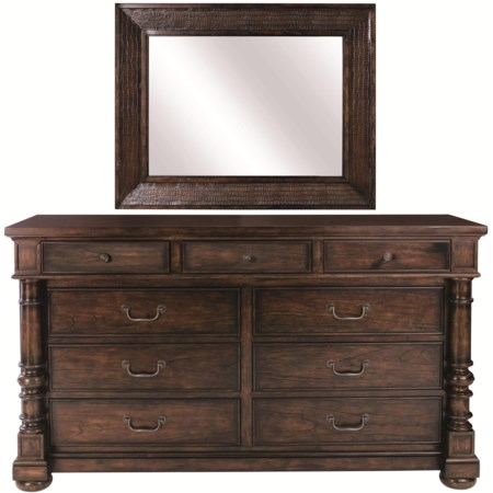 9-Drawer Dresser with Drop-Front Center Media Drawer & Mock-Croc Embossed Leather Framed Mirror Combination
