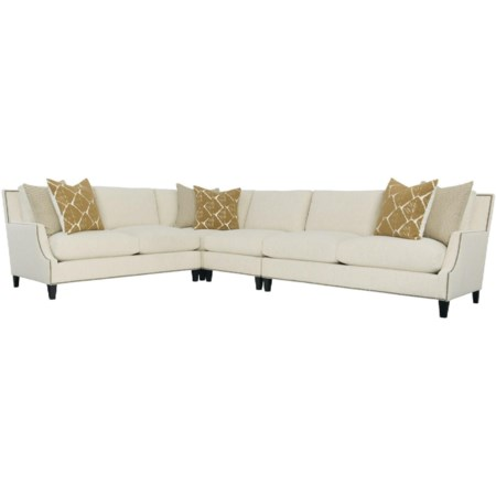 Contemporary 5-Seat Sectional Sofa with Nailheads