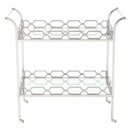 Metal Bar Cart with 2 Glass Shelves
