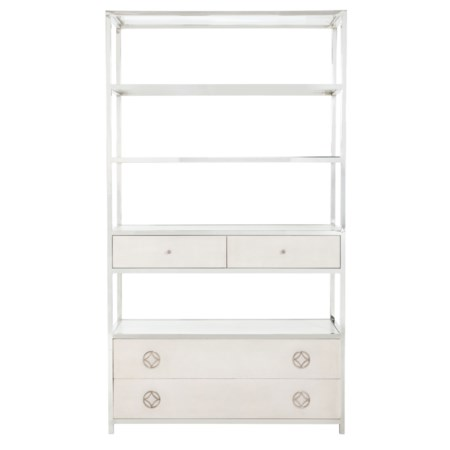 Metal Bookcase with Bonded Leather Covered Drawer Fronts