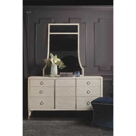 Transitional Dresser and Mirror Combination with 9 Drawers