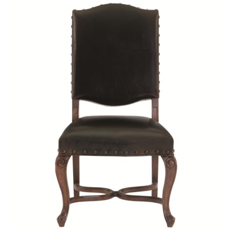 Leather Upholstered Side Chair with Cabriole Legs