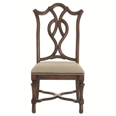 <b>Customizable</b> Splat Back Dining Side Chair with Trumpet Legs