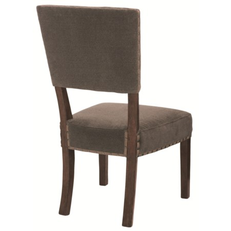 Fabric Upholstered Side Chair with Leather Tape & Spaced Nailhead Trim