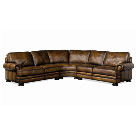 Leather Sectional Sofa with Nailhead Trim