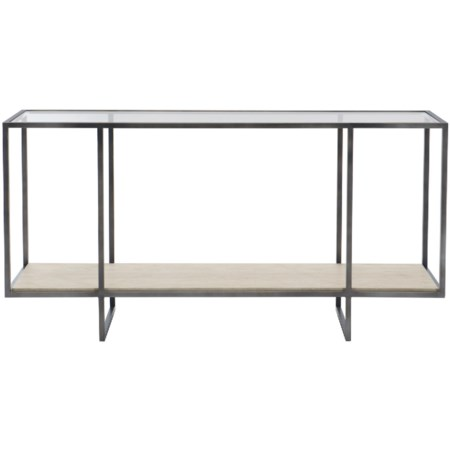 Contemporary Metal Console Table with Stone Shelf