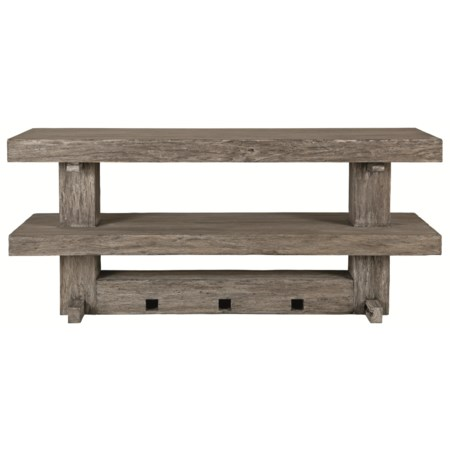 Transitional Console Table with Railroad Tie Design