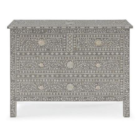Hatha 4 Drawer Cabinet with Bone Inlay Design