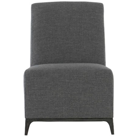 Contemporary Armless Chair with Exposed Metal Legs