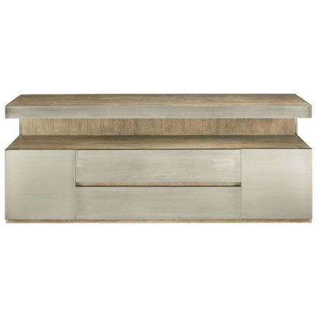 Contemporary Entertainment Console with Stainless Steel Paneling