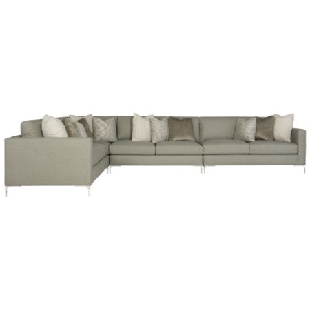 Contemporary Six Seat Sectional Sofa with Metal Legs