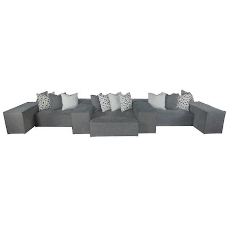 Thirteen Piece Modern Modular Sectional Sofa