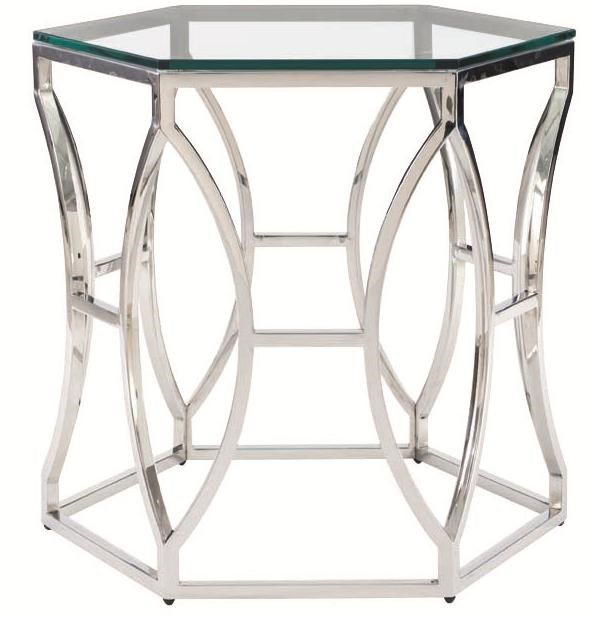 Bernhardt Interiors Accents Argent Metal Side Table With Polished Stainless Steel Base Reeds Furniture End Tables