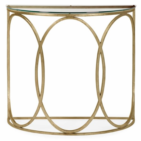 Beatrice Demilune Console Table with Glass Top
