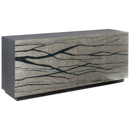 Contemporary Entertainment Credenza with Wire Access Holes