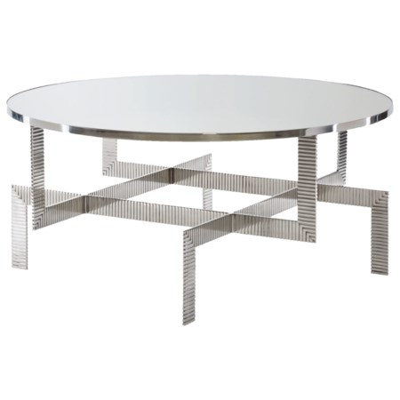 Modern Round Cocktail Table with Glass Top