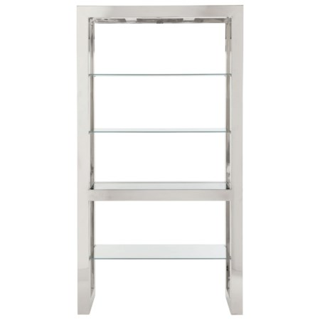 4 Shelf Etagere with Polished Stainless Steel Frame