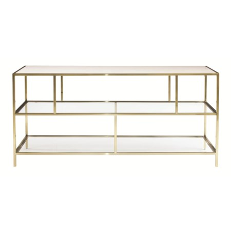Entertainment Console with Inset Glass Shelves