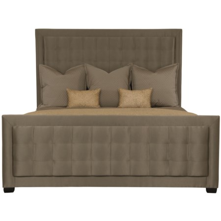 <b>Customizable</b> King Upholstered Panel Bed with Tufted Center Panel