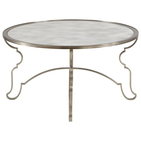Round Cocktail Table with Antique Mirror Top