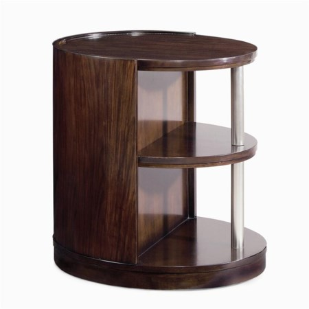 Oval End Table w/ 2 Shelves