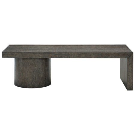 Transitional Rectangular Cocktail Table with Pedestals