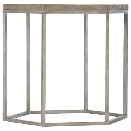 Rustic-Modern Hexagonal End Table with Steel Base
