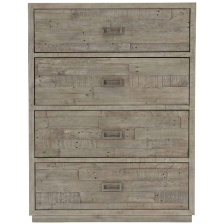 Rustic-Modern 4-Drawer Chest Solid Wood Overlays