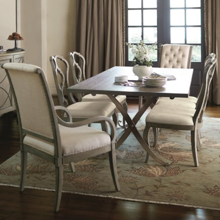 7 Piece Dining Set with Button-Tufted Arm Chairs