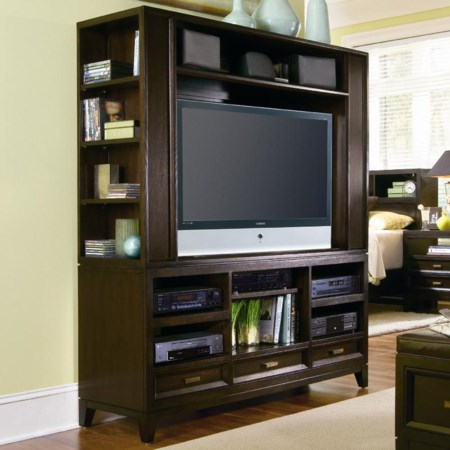 Entertainment Center with Front and Side Open Compartments