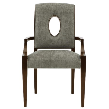 Upholstered Dining Arm Chair with Open Wood-Framed Oval Shape in Chair Back