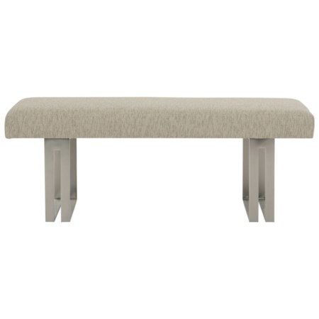 Upholstered Bench with Stainless Steel Pedestals