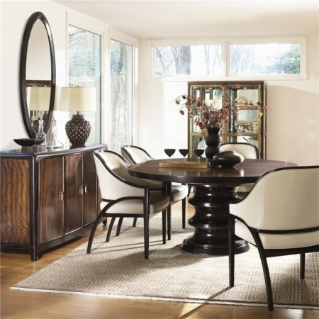 Round Table with 4 Arm Chair Set