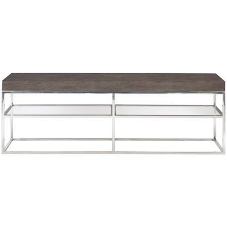 Contemporary Console Table with Metal Base and Glass Shelf
