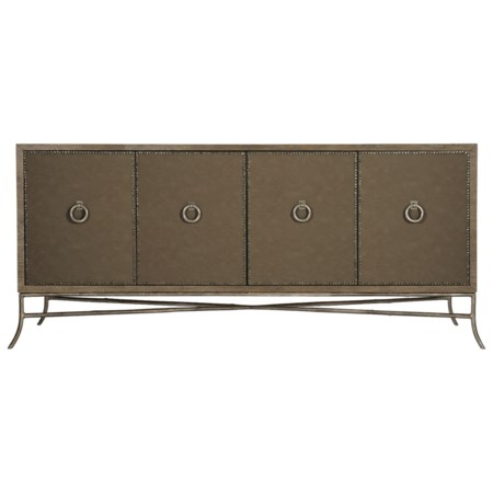 Rustic Entertainment Console with Performance Fabric Wrap and Nailhead Trim