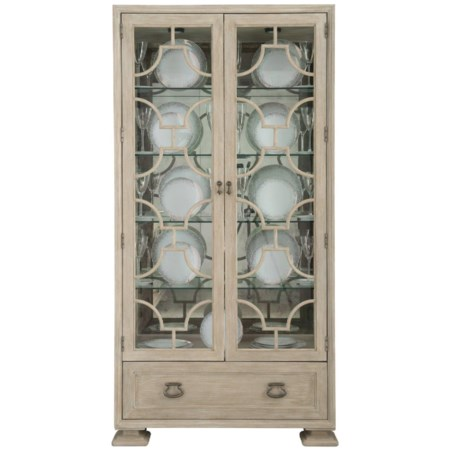 Transitional Curio China with Touch Lighting and 5 Shelves